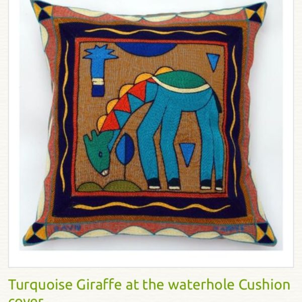 Coussin brodé main giraffe turquoise