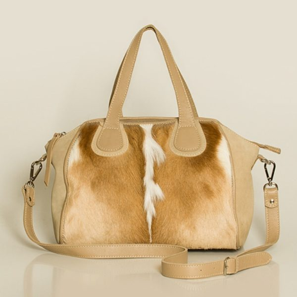 sac  cuir clair et springbok