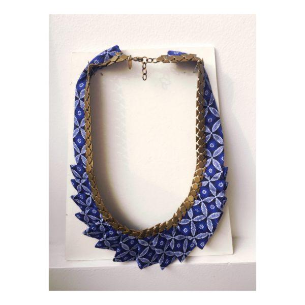 collier bleu bijoux collection fleur Imbali bluu design afrique du Sud Paris France Création AsbyAS