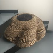 ART DESIGN GHANA par ASBYAS corbeille vagues fleurs Indigo vue du dessous