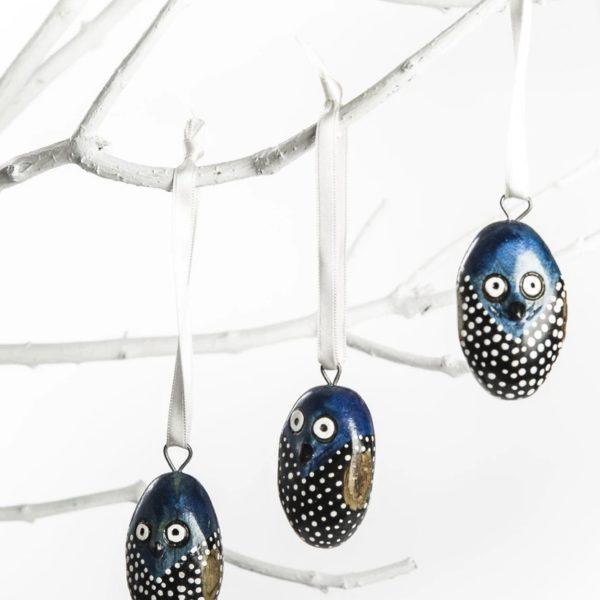 Hibou bleu et noir en Jacaranda KENYA asbyas design Afrique du Sud Paris photo 1