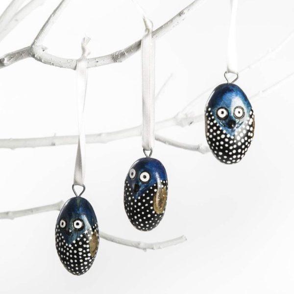 chouette noire et bleue ornement Pâques ou Noêl Jacaranda ASBYAS Design