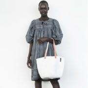 Mifuko sac Modèle blanc sisal anses cuir design Kenya 3