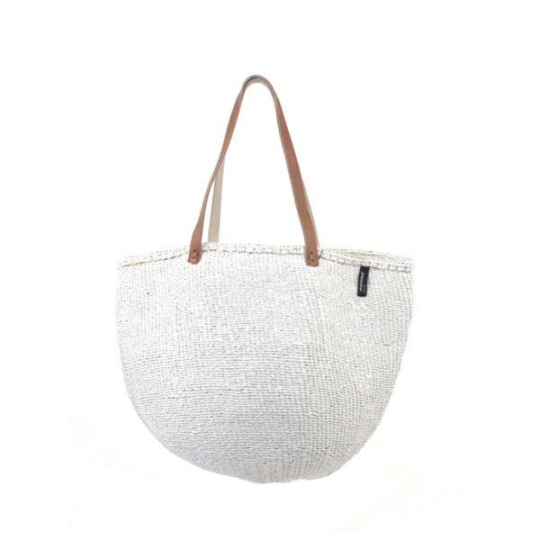 Mifuko sac Modèle blanc sisal anses cuir design Kenya ASBYAS