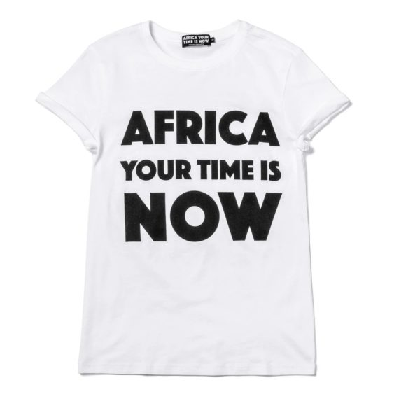 OFFRE ASBYAS PARIS AFRICA YOUR TIME IS NOW TEE-SHIRT BLANC LETTRES NOIRES 1