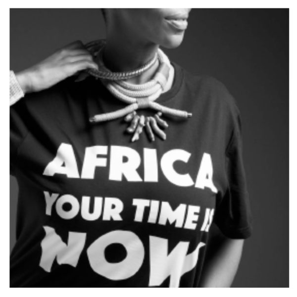 OFFRE ASBYAS PARIS AFRICA YOUR TIME IS NOW TEE-SHIRT NOIR LETRRES BLANCHES 1